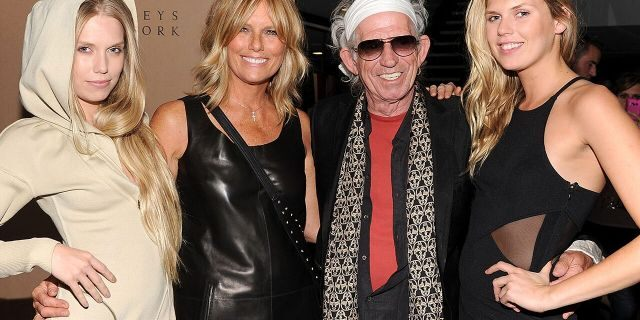 NEW YORK, NY - SEPTEMBER 22: (L-R) Theodora Richards, Patti Hansen, Keith Richards, and Alexandra Richards attend the celebration of the launch of Hung on U with Patti Hansen hosted by Barneys New York on September 22, 2011 in New York City. (Photo by Jamie McCarthy/WireImage for Barneys New York)