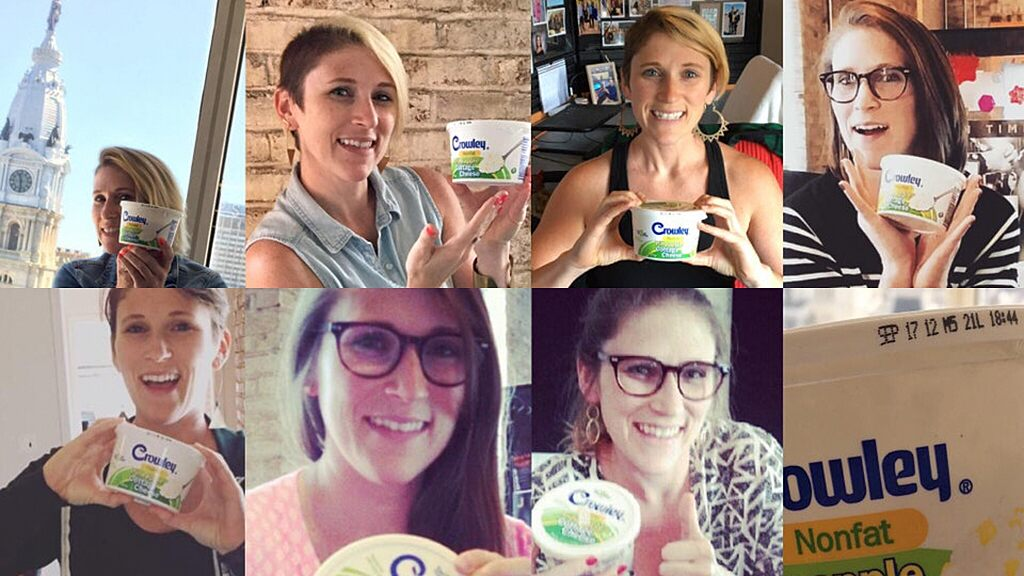Women celebrates 7-year-old cottage cheese she's kept in office fridge throughout job