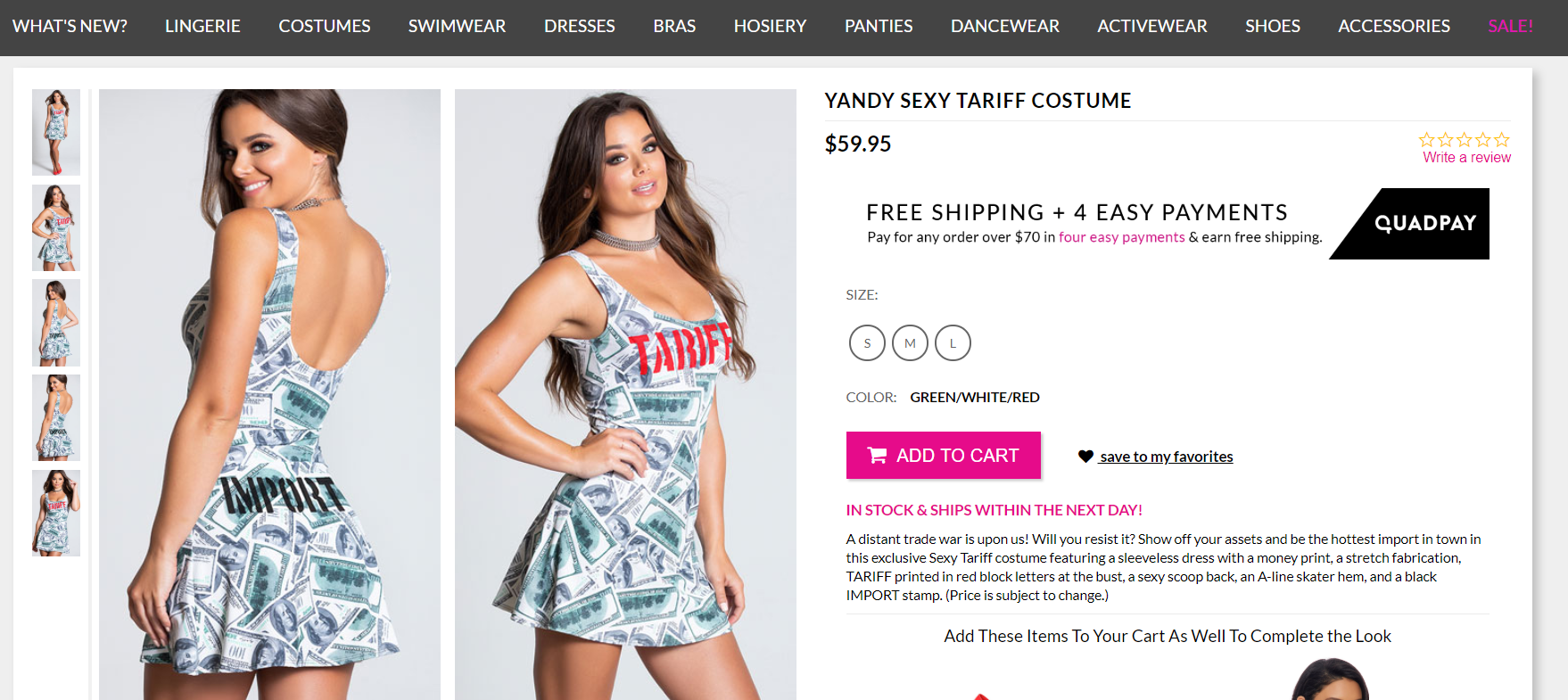 Yandy's 'Sexy Tariff' costume is timely surprise, not actually valid against Chinese regime