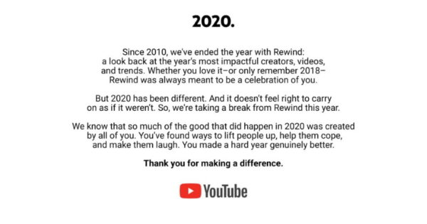 YouTube Rewind Put on Pause for 2020