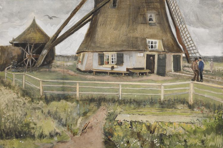 Poignant Van Gogh watercolour of a windmill coming up for sale