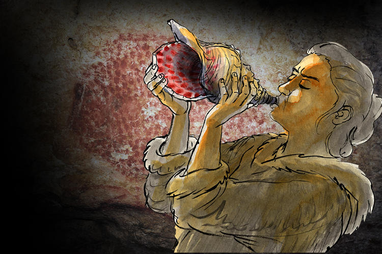 Hear the sound of an ancient conch horn, played again after 18,000 years