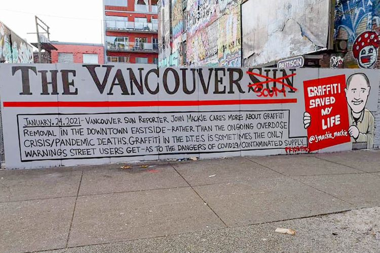 Vancouver's street artists respond to columnist's graffiti gripes with painted 'letter to the editor'