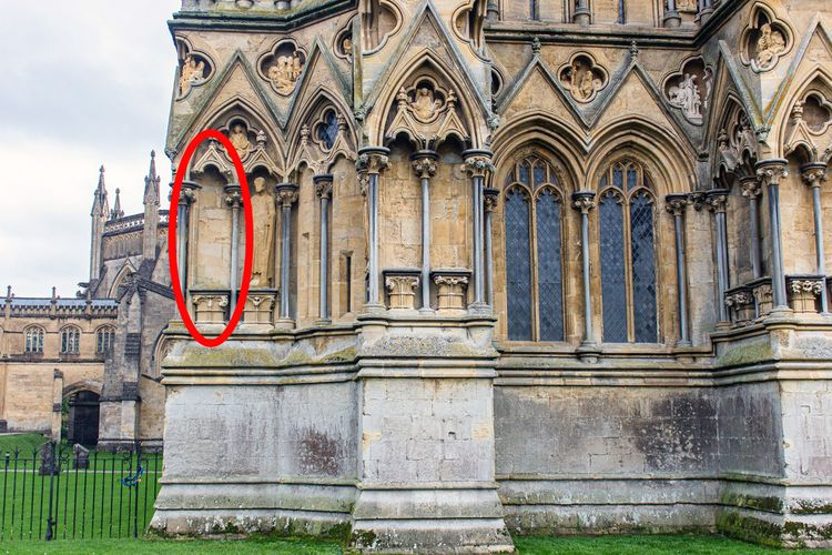 Antony Gormley lends sculpture to fill an empty spot on the medieval façade of Wells Cathedral in England