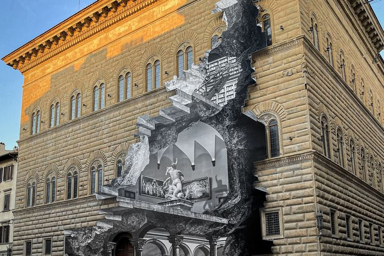 Street artist JR rips off the front of Florence's Palazzo Strozzi in new optical illusion work