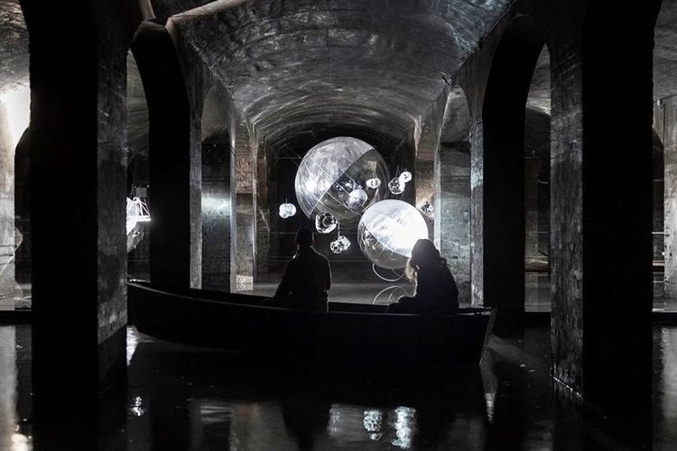 Visitors invited to row a boat through an apocalyptic underground maze in Tomás Saraceno's latest exhibition